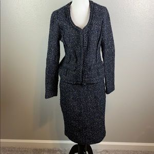 Willi Smith wool blend knit skirt suit